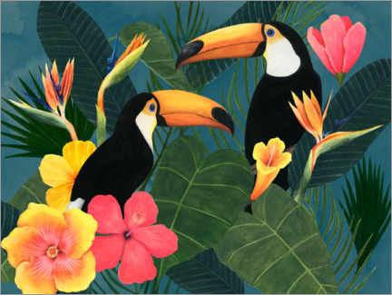 Canvas-taulu  Toucans in the tropical sea of flowers - Grace Popp