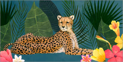 Canvas-taulu  Cheetah in the tropical sea of flowers - Grace Popp