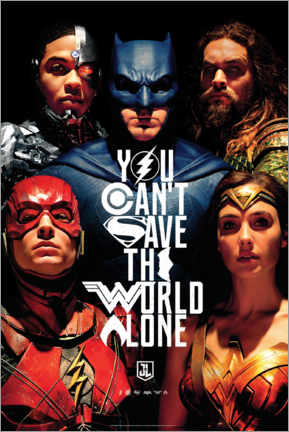 Juliste  Justice League - Can't save the world alone