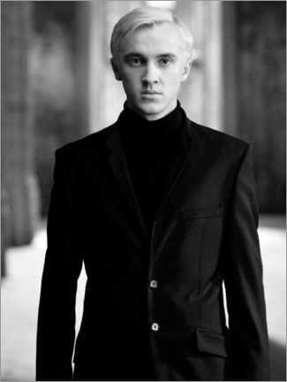 Puutaulu  The Half-Blood Prince - Draco Malfoy bw portrait