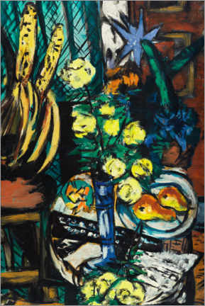 Akryylilasitaulu  Still life with yellow roses - Max Beckmann