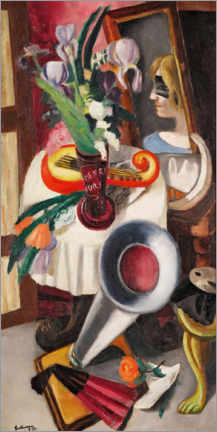 Akryylilasitaulu  Still life with gramophone and irises - Max Beckmann