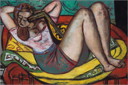 Puutaulu  Woman with a mandolin in yellow and red - Max Beckmann