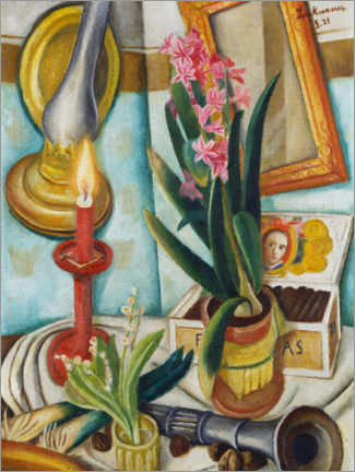 Juliste  Still life with a burning candle - Max Beckmann