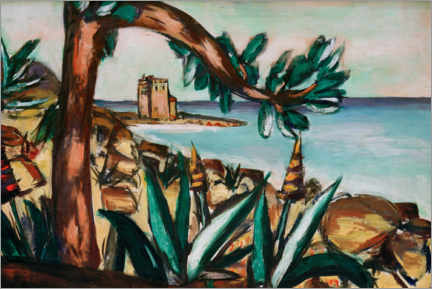 Galleriataulu  Seascape with an old castle and agaves - Max Beckmann