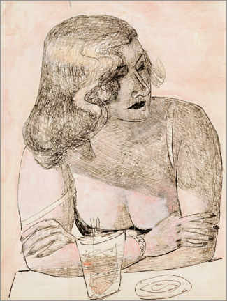 Akryylilasitaulu  Young woman with glass - Max Beckmann