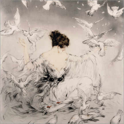 Canvas-taulu  Girl with pigeons - Louis Icart