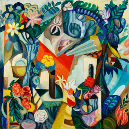 Puutaulu  Composition with house and flowers - Hélène Oettingen