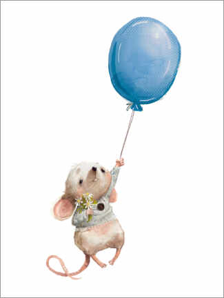 Puutaulu  Little mouse with balloon - Kidz Collection