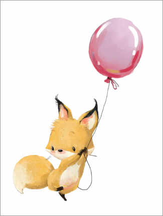 Canvas-taulu  Fox with a balloon - Kidz Collection