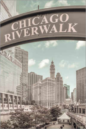 Canvas-taulu  On the banks of the Chicago River - Melanie Viola