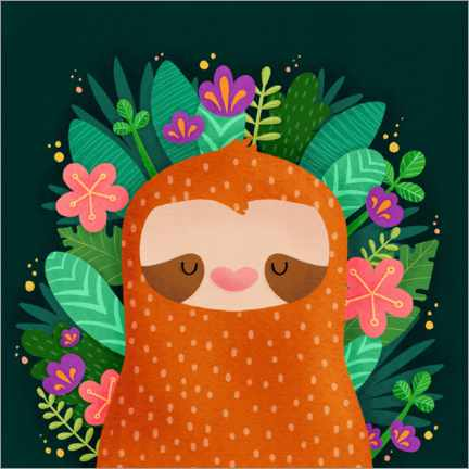 Juliste Sloth with flowers