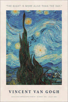 Alumiinitaulu  Vincent van Gogh - The night - Museum Art Edition