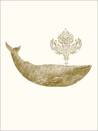 Juliste  The Damask Whale - gold option - Terry Fan