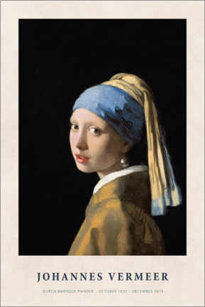 Akryylilasitaulu  Jan Vermeer - Girl with a Pearl Earring - Museum Art Edition