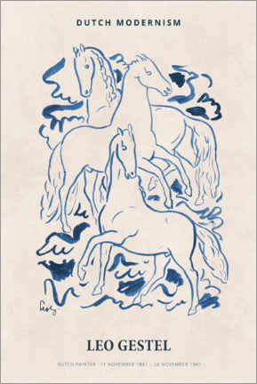 Juliste  Leo Gestel - Three Horses - Museum Art Edition
