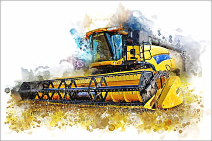 Canvas-taulu  Combine harvester in action - Peter Roder