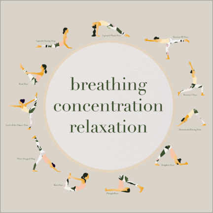 Canvas-taulu  Yoga - breathing concentration relaxation