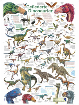 Canvas-taulu  Feathered dinosaurs - Planet Poster Editions