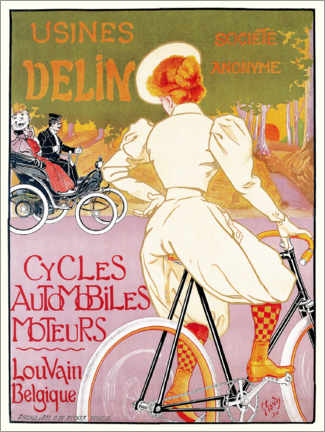 Canvas-taulu  Bicycles, cars and engines, Belgium - Georges Gaudy