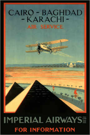 Canvas-taulu  Imperial Airways - Cairo to Karachi - Travel Collection