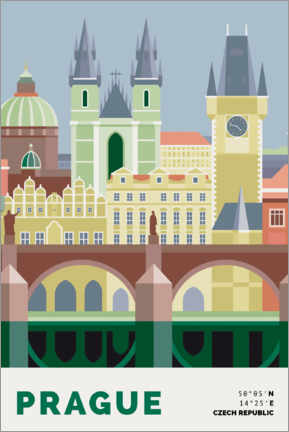 Puutaulu  prague skyline - Nigel Sandor
