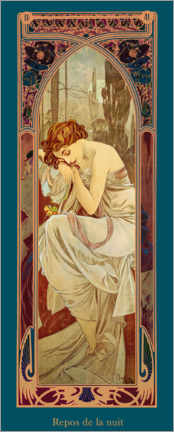 Akryylilasitaulu  Times of the Day - Night's Rest - Alfons Mucha