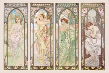 Akryylilasitaulu  Les heures du jour (Times of the Day) - Alfons Mucha