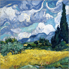 Akryylilasitaulu  Wheat field with cypresses - Vincent van Gogh