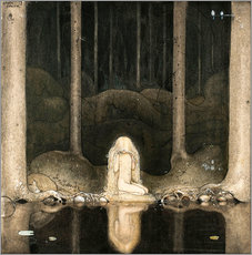 Galleriataulu  Princess Tuvstarr gazing down into the dark waters of the forest tarn - John Bauer