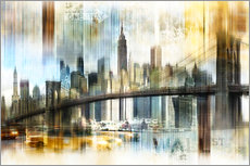 Sisustustarra  Skyline New York Abstrakt Fraktal - Städtecollagen