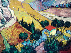 Galleriataulu  Landscape with House and Ploughman - Vincent van Gogh