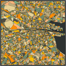 Galleriataulu  Dublin Map - Jazzberry Blue
