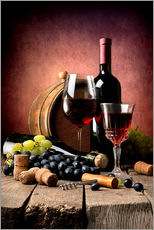 Galleriataulu  Red wine with grapes and corks