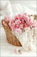 Sisustustarra  Pink pastel flowers in wicker basket