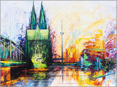 Galleriataulu  Cologne Cathedral Skyline colored - Renate Berghaus