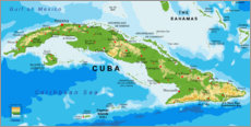 Juliste  Map of Cuba