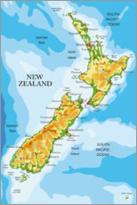 Canvas-taulu  New Zealand - Map