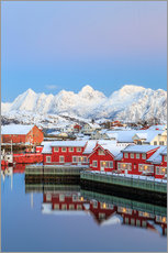Sisustustarra  Pink sunset over the typical red houses reflected in the sea, Svolvaer, Lofoten Islands, Arctic, Nor - Roberto Sysa Moiola