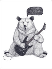 Sisustustarra  Rocking bear with electric guitar - Valeriya Korenkova