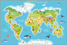 Sisustustarra  World map with animals - Kidz Collection