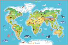 Galleriataulu  World map for children (German) - Kidz Collection