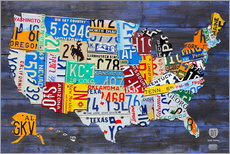Sisustustarra  License plate map of the USA - Design Turnpike