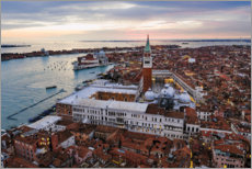 Juliste Aerial view of St Mark's square at sunset, Venice