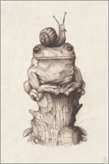 Juliste  The frog and the snail, vintage - Mike Koubou