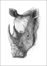 Puutaulu  Rhino portrait, black and white - Mike Koubou