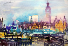 Juliste Leipzig roof landscape with city hall