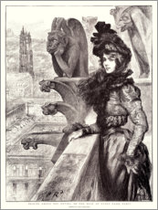 PVC-taulu  Beauty among the devils, on the roof of Notre Dame - Charles Paul Renouard