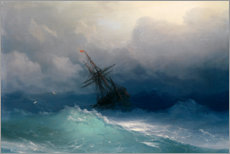 Puutaulu  Ship at heavy sea - Ivan Konstantinovich Aivazovsky