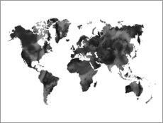 Sisustustarra  World Map Black - Nouveau Prints